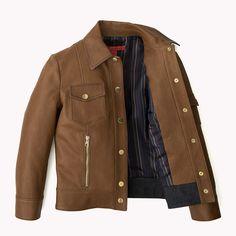 Tommy Hilfiger Cropped Leather Jacket - toasted coconut-pt / medium indigo (Brown) - Tommy Hilfiger Coats & Jackets - detail image 4
