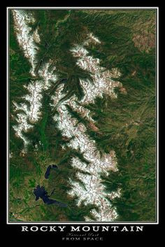 Rocky Mountain National Park Colorado From Space Satellite Art Poster