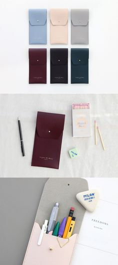 I love carrying these pen pouch because of its simplistic design and portability! It has 1 compartment that holds my favorite pens inside! And the slim design makes it easy to carry them in any bags anywhere I go! The colors and elegant look also make it delightful to use them every time!
