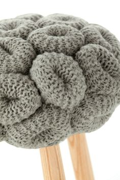 KnittedStool_Claire-AnneO'Brien_GAN_GandiaBlasco_OrangeSkin Upholstered wool stool GREY KNITTED STOOL - GAN By Gandia Blasco