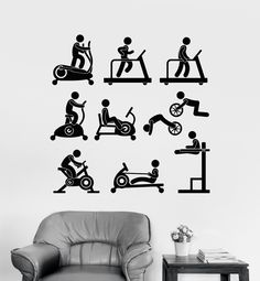 Vinyl Wall Decal Sports Gym Fitness Equipment Motivation Decor Stickers (117ig)