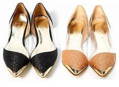 Damen Ballerinas Damenschuhe Slipper SCHUHE SPITZ GOLD BLACK glitzer PUMPS 214
