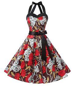 Dresstells Neckholder Rockabilly 50er Vintage Retro Kleid Petticoat Faltenrock Retro Kleider Style Hipster Vintage 90s 80s 70s 60s 50s Rockabilly Outfits Pin Up Cocktails Maxis: http://amzn.to/2rTlAdd