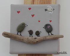 Tableau galets oiseaux bois flotté 'Famille' mini format 10x10 : Décorations murales par artistik
