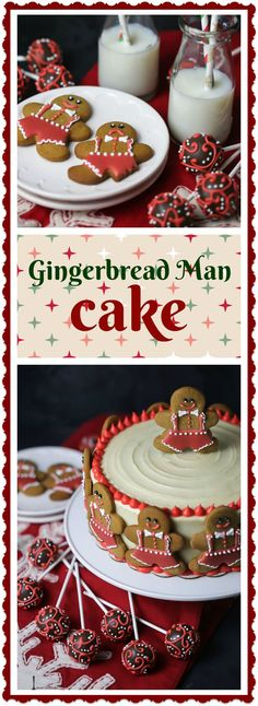 Spiced gingerbread cake is iced with tangy cream cheese frosting and decorated with gingerbread man cookies for two festive desserts in one!