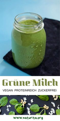 The alternative to traditional green smoothies: unsweetened green milk with lots of vegan protein, c Superfood, Easter Drink, Bourbon Vanille, Cocktail Drinks, Cocktails, Vegan Protein, Slushies, Margarita, Coconut