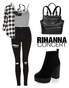 """Hot Ticket: Rihanna Concert"" by tania-alves ❤ liked on Polyvore featuring Topshop, Givenchy, New Look and Rihanna"