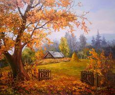 Maher Art Gallery: The artist Anca Bulgaru Beautiful Paintings Of Nature, Beautiful Landscapes, Autumn Painting, Autumn Art, Landscape Art, Landscape Paintings, Building Painting, Autumn Scenes, Fall Pictures