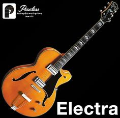 Peerless Electra Hollow Body Archtop Jazz Electric Guitar Sunburst Slim Body #Peerless
