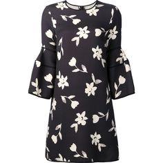 Carolina Herrera bell sleeve mini dress (3.905 BRL) ❤ liked on Polyvore featuring dresses, vestidos, carolina herrera, платья, black, floral mini dress, floral pattern dress, mini shift dress, mini dress and floral print dress