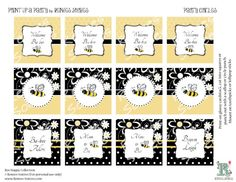 Free Printable Bumble Bee Decorations | Printable CUPCAKE TOPPERS Bumble Bee PARTY Circles- Baby Shower ...