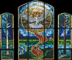 Stained Glass Window in Ely, MN designed by Hetland Ltd. and created by Classic Glass Studio