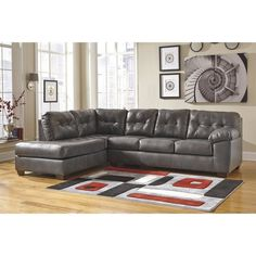 Lowest price online on all Ashley Alliston Leather Left Facing Sectional in Gray - 20102-16-67-KIT