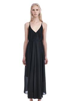 T by ALEXANDER WANG SILK CHARMEUSE TRAPEZE MIDI DRESS 3/4 length dress Adult 12_n_e