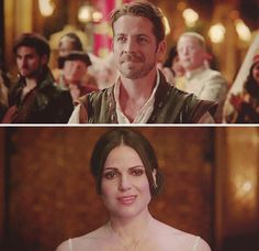 Robin and Regina, Outlaw Queen at their first ball together.  I loved how you could tell she was freaking out until she saw him and then she instantly felt calmer.