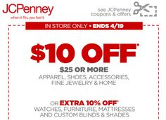 JCPenney $$ Reminder: Coupon for $10/$25 Purchase – Expires TODAY (4/19)!