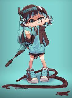 Inkling Girl by ぷち Splatoon 2 Game, Nintendo Splatoon, Splatoon Comics, Viewtiful Joe, Splatoon Squid Sisters, Pokemon, Kawaii, Cute Characters, Cute Art