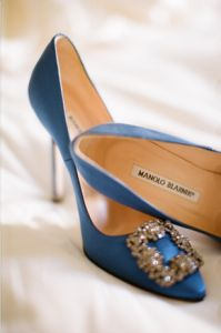 12c2092581fd19 Blue Manolos with glittery brooches Bridal Shoes