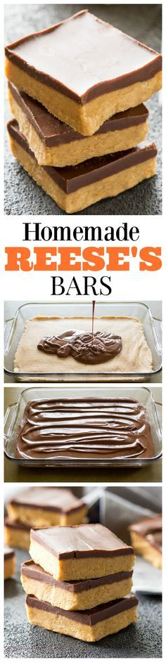 Homemade Reese\'s Bars - so easy you can make them at home! So good! the-girl-who-ate-...