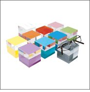 D2 - Cube Shaped Acrylic Optical Display Blocks in 10 Vibrant Colors - http://www.framedisplays.com