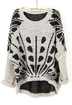 Grey Long Sleeve Asymmetrical Embroidery Sweater
