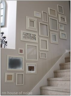 Elegant Empty Picture Frames As Stairway Wall Decor
