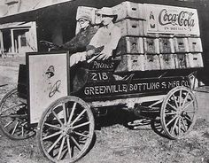 Very Old Coca-Cola / Coke delivery truck. From Traces of Texas,  soda distribution wagon in Greenville Texas early 1900's