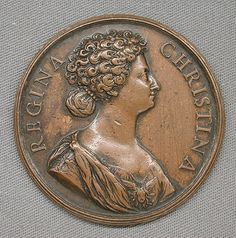 Medal by Alberto Hamerani. Queen Kristina of Sweden, Queen Regnant. 1632-1654 She succeeded her father Gustav II Adolf at the age of six