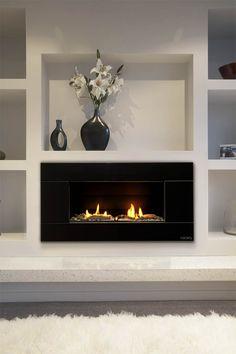 Escea ST900 Indoor Gas Fireplace, Volcanic Black Slab Fascia with Driftwood www.escea.com.au