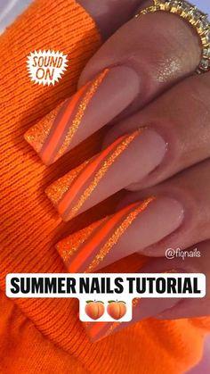 Orange Ombre Nails, Orange Acrylic Nails, Bling Acrylic Nails, Acrylic Nails Coffin Short, Best Acrylic Nails, Glitter Nails, Orange Glitter, Gold Coffin Nails, Orange Nail Art