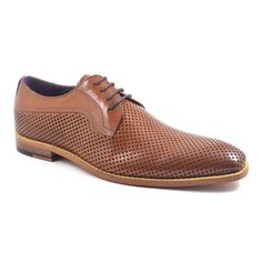 A touch sporty, these tan leather mesh derby shoes are quirky yet subtle.
