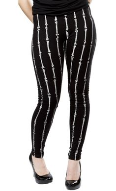 LIP SERVICE BONES LEGGINGS      $32.00    Thaw out your brisk bones with a pair of Lip Service leggings! These black, stretchy leggings feature an all over bone print in white & have fantastic fit. 97% Cotton/3% Spandex.