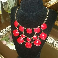 Spotted while shopping on Poshmark: NWT Red Stoned Statement Necklace! #poshmark #fashion #shopping #style #Jewelry
