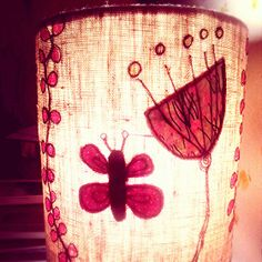 freehand machine embroidery lampshade