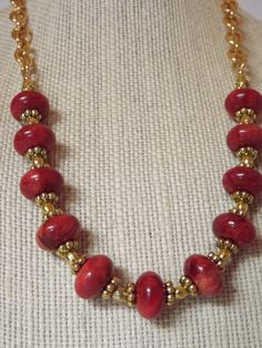 Red Coral Necklace by CRawlinsCollection on Etsy Gold Earrings Designs, Gold Jewellery Design, Bead Jewellery, Necklace Designs, Beaded Jewelry, Diy Jewelry, Gold Jewelry Simple, Coral Jewelry, Gemstone Jewelry