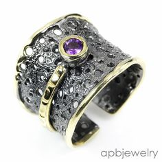 Handmade Fine Art Natural Amethyst 925 Sterling Silver Ring Freesize/R32409 #APBJewelry #Ring