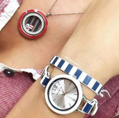 Loving the nautical look! Match your watch to your living locket with our newest look!   https://sharonmelone.origamiowl.com/