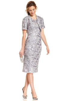 Alex Evenings Petite Soutache Sequin Lace Midi Dress And Jacket in Floral (Dove)