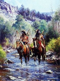 In this print by Martin Grelle a pair of Native Americans ride horseback…