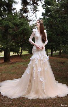 tiglily bridal 2016 long sleeves vneck fit flare mermaid wedding dress (eva) mv peach color romantic elegant