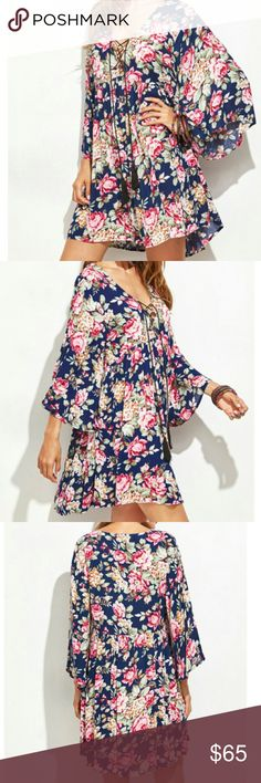 🆕 ARRIVAL🌿🌱 FLORAL DRESS🌱 PRICE FIRM. 🌿SENDING DISCOUNT OFFERS WHEN YOU ADD 3+ ITEMS TO YOUR BUNDLE 🌿  LOVELY FLORAL WIDE SLEEVE CRISS CROSS TIE FRONT DRESS! LARGE FITS UP TO XL. BOUTIQUE Dresses