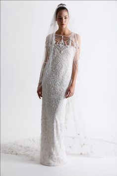 Marchesa wedding dress Spring/Summer 2011 bridal collection - column or sheath gown with pearl straps -- Marchesa Spring 2011 Bridal Collection Marchesa Wedding Dress, Marchesa Bridal, Marchesa Gowns, Marchesa Spring, Wedding Gowns, Wedding Cake, Wedding Stuff, Looks Vintage, Beautiful Gowns