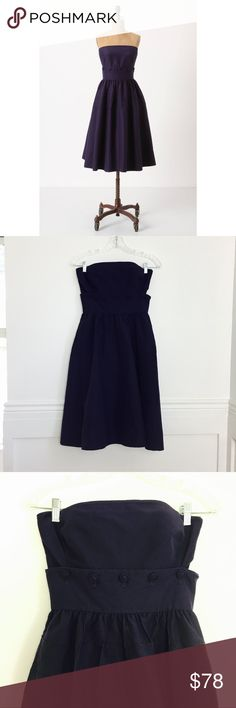 Anthropologie Maeve dress Button Belted Dress by Maeve.  Strapless navy dress in silk-cotton with tulle-flounced skirt and buttoned waist. Can be worn as a dress or as separate to and skirt by unbuttoning the waist. Side pockets. Side zip. Cotton, silk; polyester lining. Size 0. Crossed out tag. Excellent condition. Anthropologie Dresses