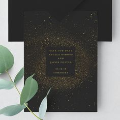 Artfully inspired by nature's cosmos The Constellation Save the Date is simply stunning with it's galaxy of stars depicted in real gold foil on deep black - perfect for a wedding under the stars.