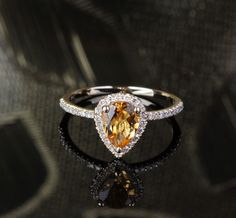 Yellow Gold Citrine Pear Shape Diamond Pave Engagement for sale Pear Shaped Engagement Rings, Engagement Ring Settings, Citrine Ring, Pear Shaped Diamond, Diamond Are A Girls Best Friend, Gold Bands, Wedding Rings, Wedding Jewelry, White Gold