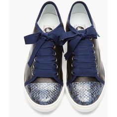 LANVIN Blue Snakeskin Ribbon-Laced Sneakers ($765) ❤ liked on Polyvore