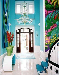 A colorful island beach house, Captiva Island, Florida.....love the intense color!