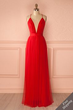 Elif Passion - Red mesh maxi dress