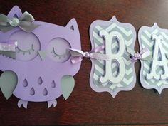 Owl Baby Shower Banner, It's A Girl banner, Baby Banner, Baby Shower Decorations, Purple and Gray banner
