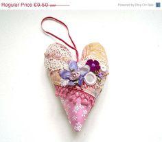 SALE Crazy Quilt Embellished Heart Decoration by madebylisajane